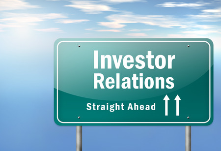 Highway Signpost with Investor Relations wording Stock Photo