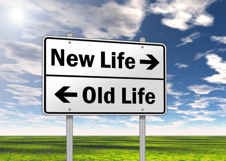 옛 생활 대 표지판 새 생명