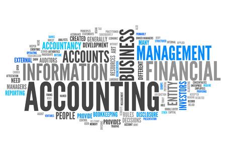 contabilidad financiera: Nube de la palabra con las etiquetas de contabilidad relacionados