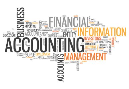 contaduria: Nube de la palabra con las etiquetas de contabilidad relacionados