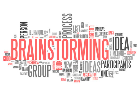 Word Cloud with Brainstorming related tags photo