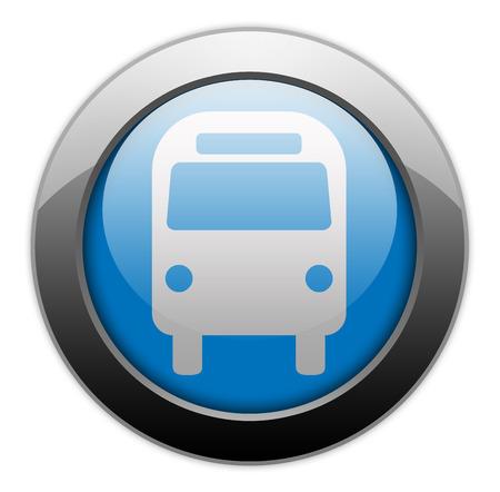transporte terrestre: Icono del bot�n Pictograma autobuses Transporte Terrestre Foto de archivo