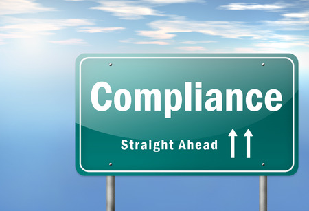 regulatory: Highway Signpost with Compliance wording