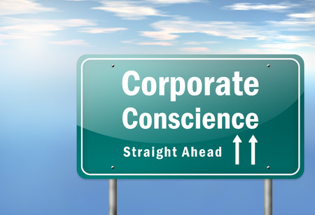 Highway Signpost with Corporate Conscience wording photo