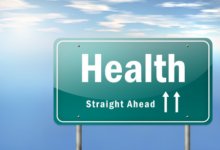 public spirit: Highway Signpost with Health wording