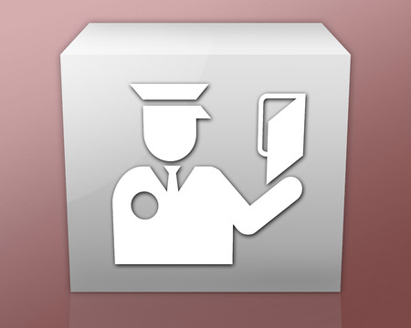 border patrol: Icon, Button, Pictogram with Immigration symbol