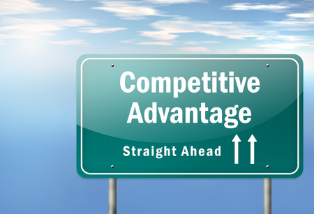 advantages: Highway Signpost with Competitive Advantage wording Stock Photo
