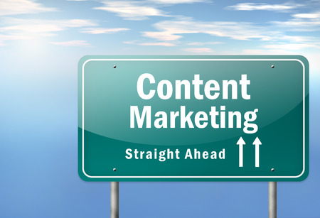 marketer: Highway Signpost with Content Marketing wording