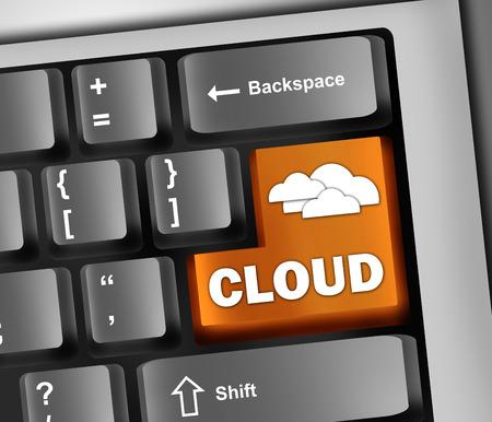 cloud based: Keyboard Illustration Cloud Computing