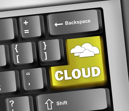 scalability: Keyboard Illustration Cloud Computing
