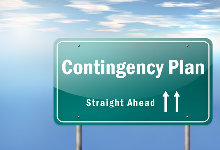 contingency: Highway Signpost with Contingency Plan wording