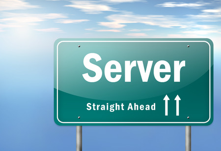proxy: Highway Signpost with Server wording Stock Photo