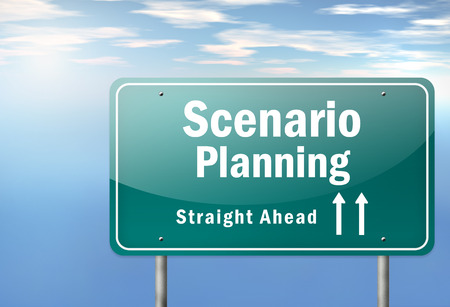 scenarios: Highway Signpost with Scenario Planning wording