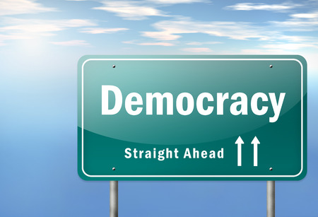 Highway Signpost Democracy