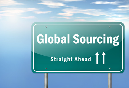suppliers: Highway Signpost with Global Sourcing wording Stock Photo