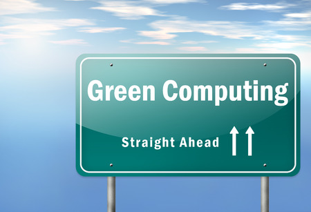 Highway Signpost met Green Computing bewoordingen Stockfoto