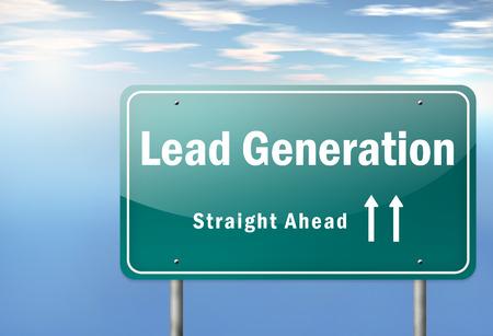 Autobahn Wegweiser mit Lead Generation Wortlaut