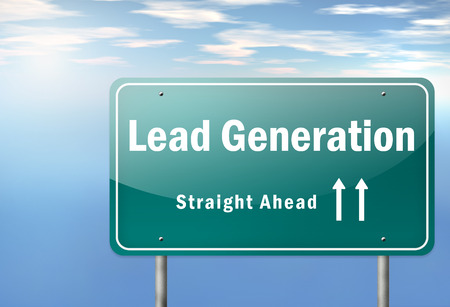 Highway Signpost with Lead Generation wording Stock Photo