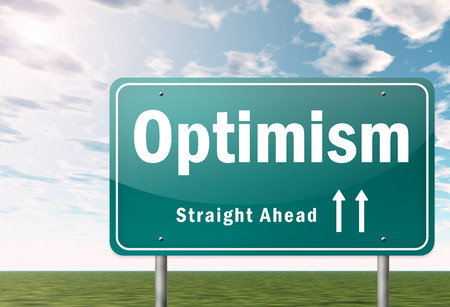 optimism: Highway Signpost with Optimism wording