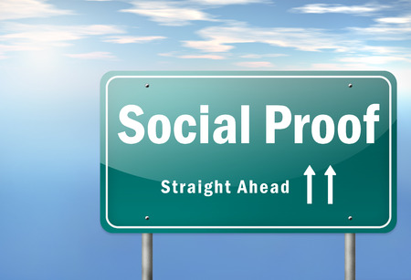 Highway Signpost with Social Proof wording Stock Photo