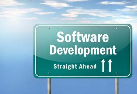 software development: Highway Signpost with Software Development wording Stock Photo