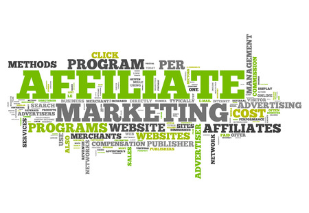 affiliates: Word Cloud Affiliate Marketing Stock Photo