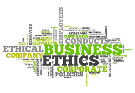 Wort-Wolke mit Business Ethics verwandte Tags Lizenzfreie Bilder