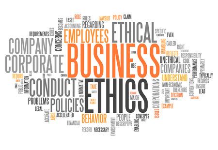 etica empresarial: Etiquetas nube de la palabra con la �tica en los negocios relacionados