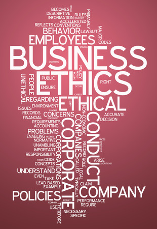 Word Cloud with Business Ethics related tags photo