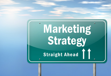 Highway Signpost with Marketing Strategy wording photo