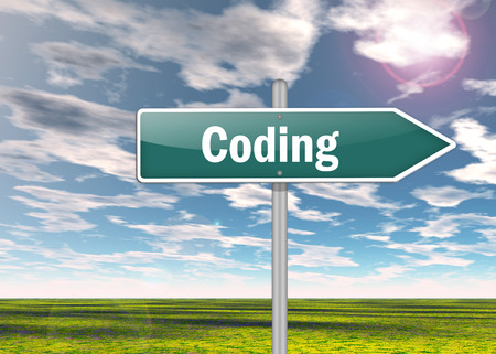 Signpost with Coding wording