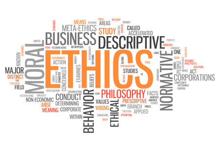 Word Cloud with Ethics related tags Stock Photo