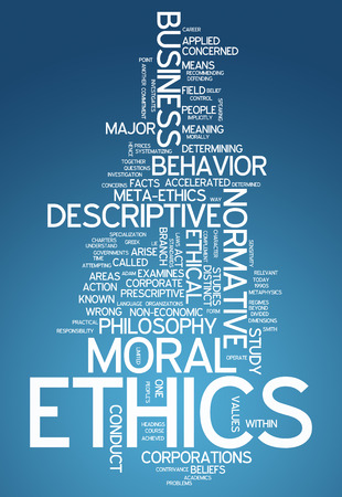 Word Cloud with Ethics related tags photo