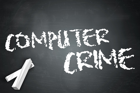 scammer: Blackboard with Computer Crime wording Stock Photo