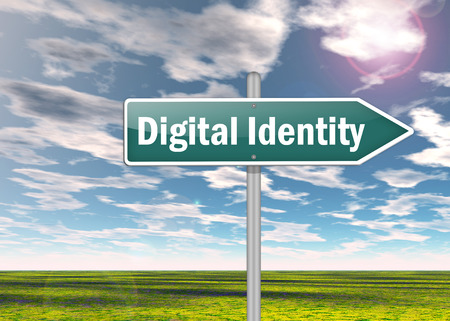 identifiers: Signpost Digital Identity wording Stock Photo