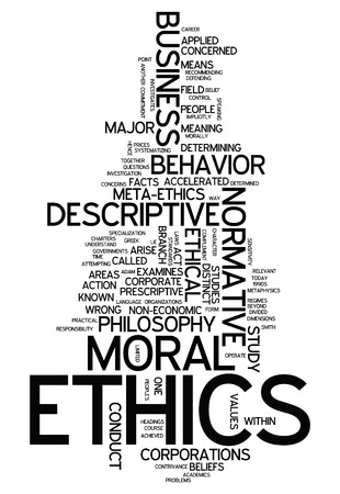 normative: Word Cloud with Ethics related tags Stock Photo