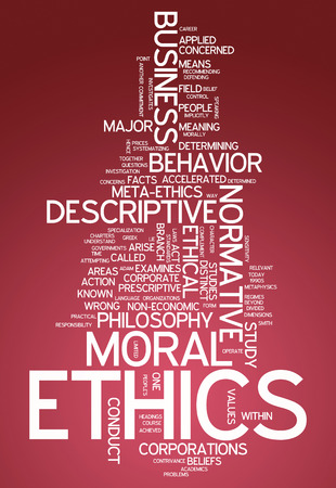 conducting: Word Cloud with Ethics related tags Stock Photo