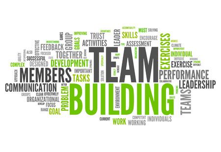 Word Cloud met Team Building gerelateerde tags Stockfoto