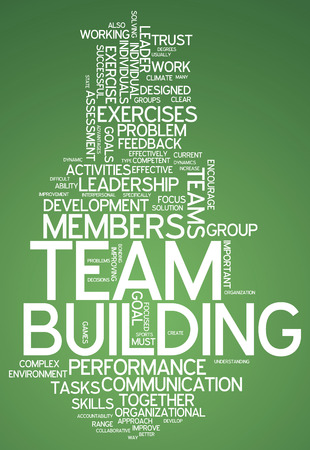 Word Cloud with Team Building related tags photo