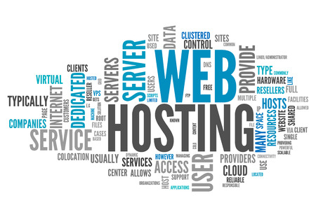 dedicated: Word Cloud with Web Hosting related tags Stock Photo