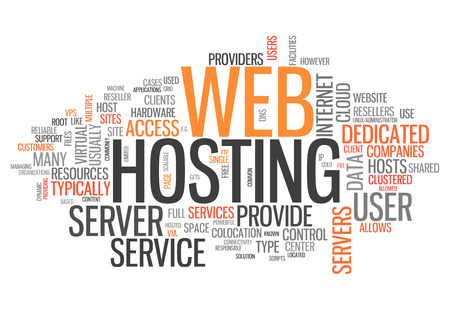 providers: Word Cloud with Web Hosting related tags Stock Photo