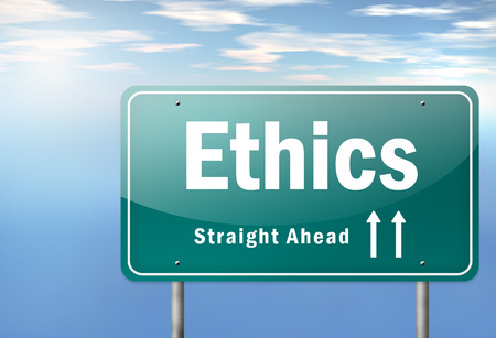 Highway Signpost with Ethics wording photo