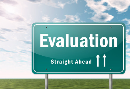 appraise: Highway Signpost with Evaluation wording Stock Photo