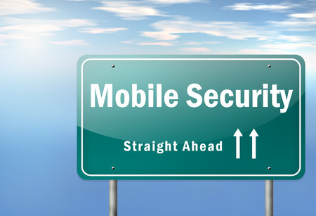 trojans: Highway Signpost with Mobile Security wording Stock Photo