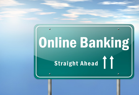 online banking: Highway Signpost with Online Banking wording