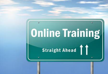 Highway Signpost with Online Training wording photo