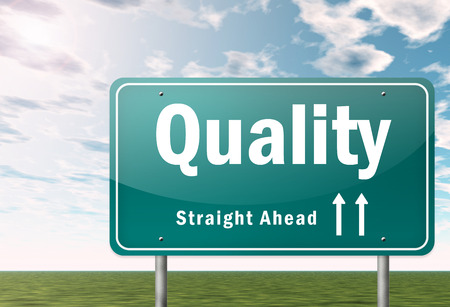 maintainability: Highway Signpost with Quality wording Stock Photo