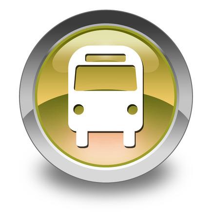 transporte terrestre: Icono, botón, Pictograma Bus de Transporte Terrestre