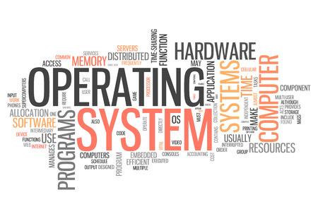 オペレーティング システムと単語の雲関連タグ