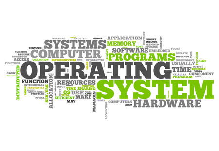 operating system: Word Cloud with Operating System related tags